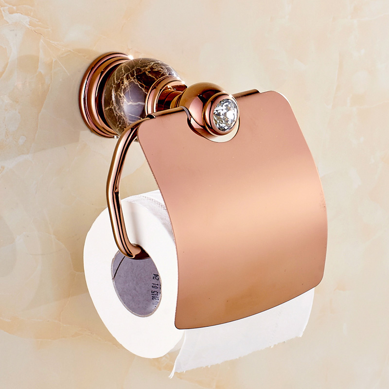 Copper Rose Gold Paper Towel Rack Toilet  Paper Holder Jade Marble Toilet Paper Carton Box Bathroom accessories 7151  the paper carton wall plastic roll plastic creative paper towel box paper market box carton