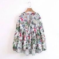Fall 2017 Fashion Women Blouses Korean Full Sleeve Mixed Print V Neck Floral Blouse Womens Tops