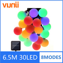 Globe 6.5M 30 LED Ball String Lights Solar Powered Christmas Light Decorative Lighting for Home Garden Patio Party Decorations