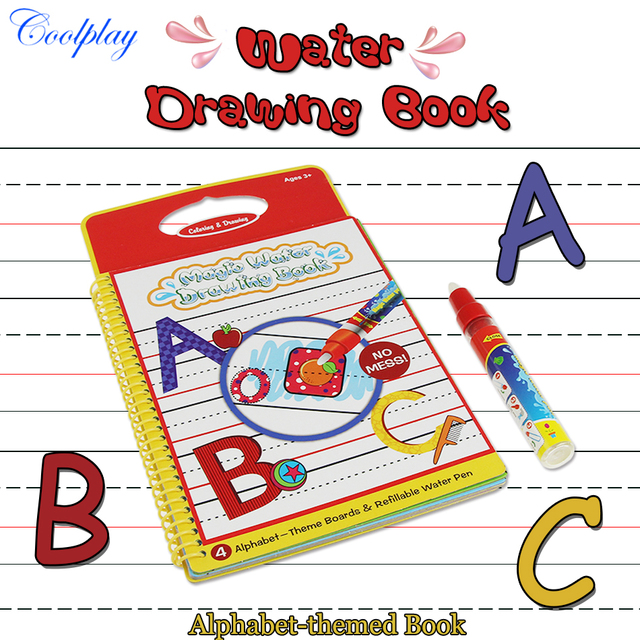 Alphabet Water Drawing Book Coloring Book Doodle with 1 Magic Pen ...