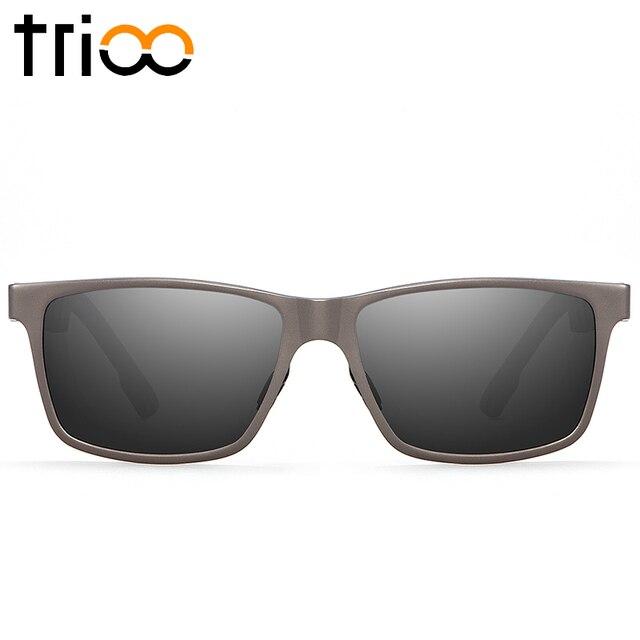 Trioo mate de metal gafas de sol para los hombres polarizados cuadrado estilo de tejer templo gafas de conducción uv400 shades gafas de sol del conductor de sexo masculino