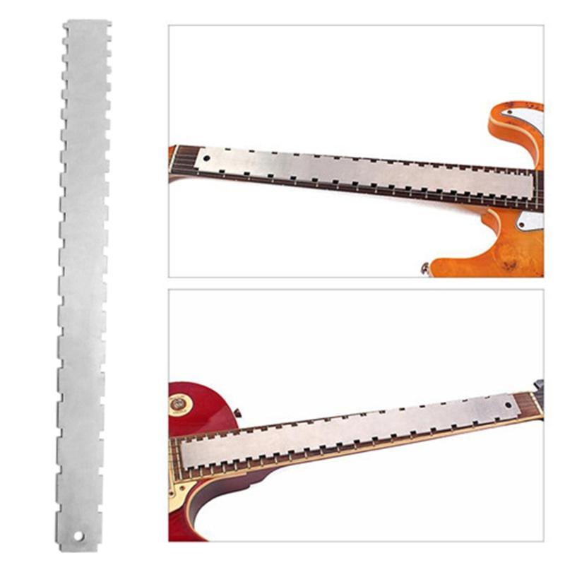1pc Stainless Steel Guitar Neck Notched Straight Edge Luthiers Tool For Most Electric Guitars Frets