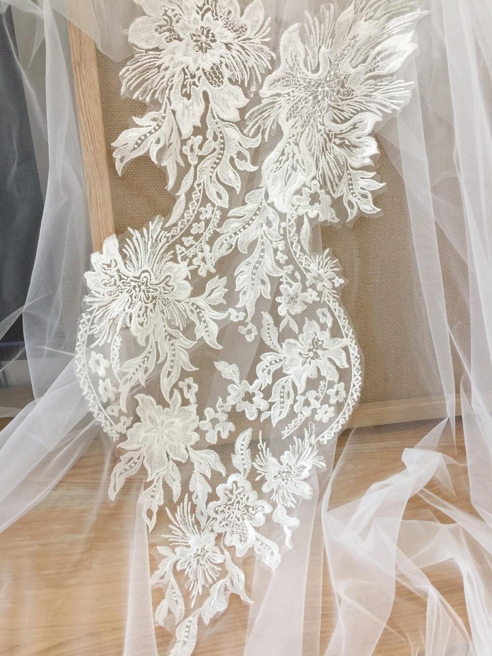 Ivory Cording Embroidery Applique New Wedding Dress Veil Lace Applique