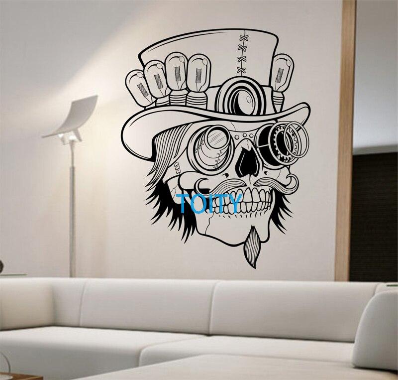 Steampunk Sugar Skull Vinyl Wall Decal Sticker Art Decor ...