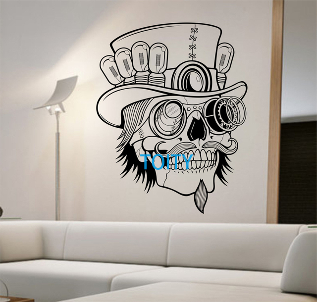 Steampunk Sugar Skull Vinyl Wall Decal Sticker Art Decor Bedroom ...