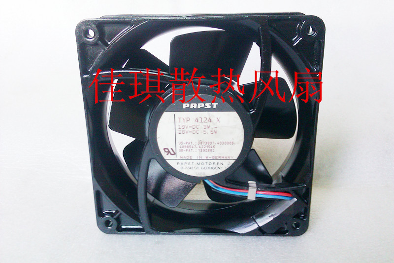 ebm-papst TYP 4124 X TYP4124X  Server Square Fan DC 19V 3w DC 28V 5.5w 2-wire ebm papst 4800z 4800 z ac 115v 0 16a 0 14a 13w 12w 120x120x38mm server square fan