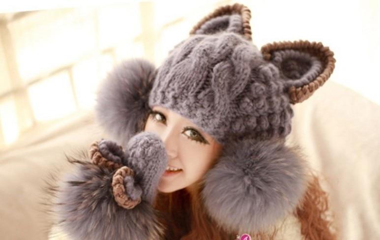2018 otoño y el invierno libre del envío mujeres de lana de punto moda gato  conejo oreja tapa de diseño fc626f63c05