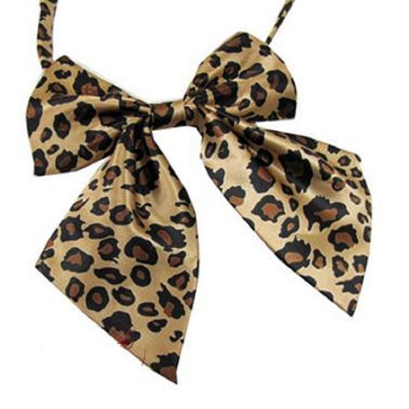 Venta caliente moda poliéster estampado de leopardo pajarita para mujeres mariposa ascot corbata corbata