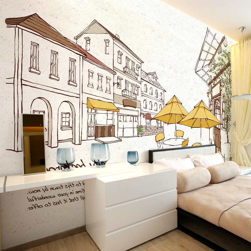 Custom Photo Children Wallpaper Cartoon And Simple Photos Of City Background For Kid's Bedding Room Background Wall Paper Mural  free shipping hepburn classic black and white photos wallpaper old photos tv background wall mural wallpaper