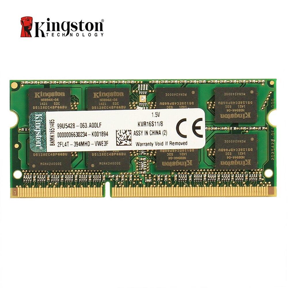 Mémoire RAM Kingston DDR3 4 go 8 go 1600 MHz DDR3 PC3-12800 non-ecc CL11 SODIMM mémoire pour ordinateur portable KVR16S11/8