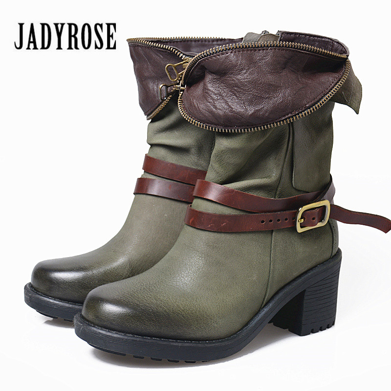 Jady Rose 2018 New Autumn Winter Women Ankle Boots Chunky High Heel Green Martin Boots Belt Buckle Botas Mujer Genuine Leather women autumn winter wedges chunky heel height increase elevator genuine leather buckle zip fashion ankle boots 34 39 sxq0724