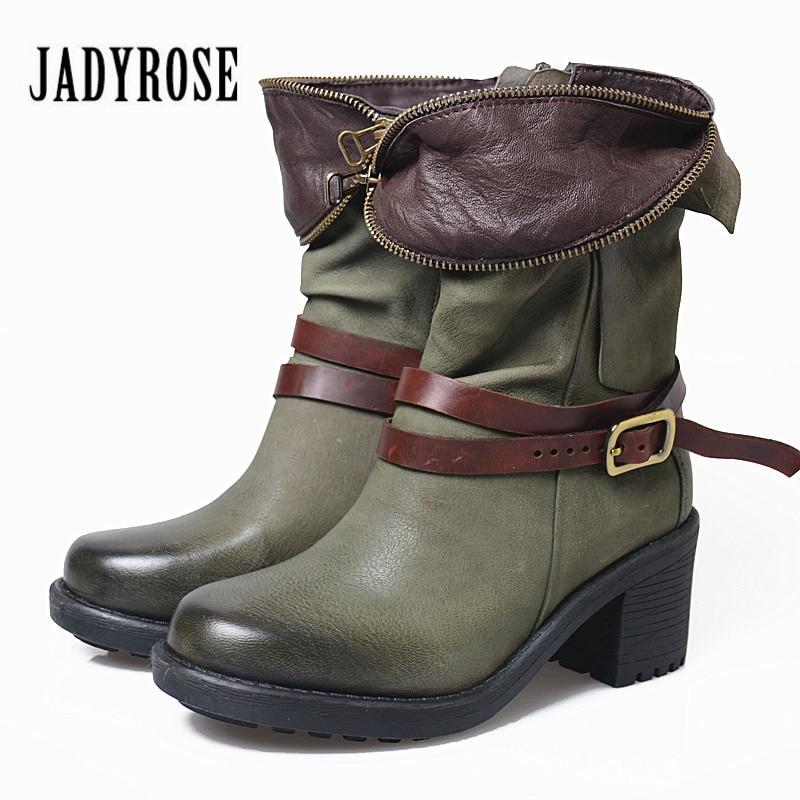 Jady Rose 2018 Nouveau Automne Hiver Femmes Cheville Bottes Chunky haute Talon Vert Martin Bottes Ceinture Boucle Botas Mujer Véritable en cuir