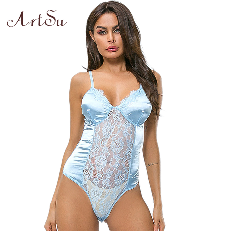ArtSu Women Sexy Bodysuit Lace Mesh Patchwork See-through Backless Bodycon Female Catsuit Bodysuits Romper New ASJU41227