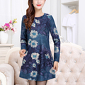 Winter Dress 2017 Fashion Long Sleeve Vintage Printed Women Dresses O-Neck Casual  Spring Women's clothing Vestidos Plus size