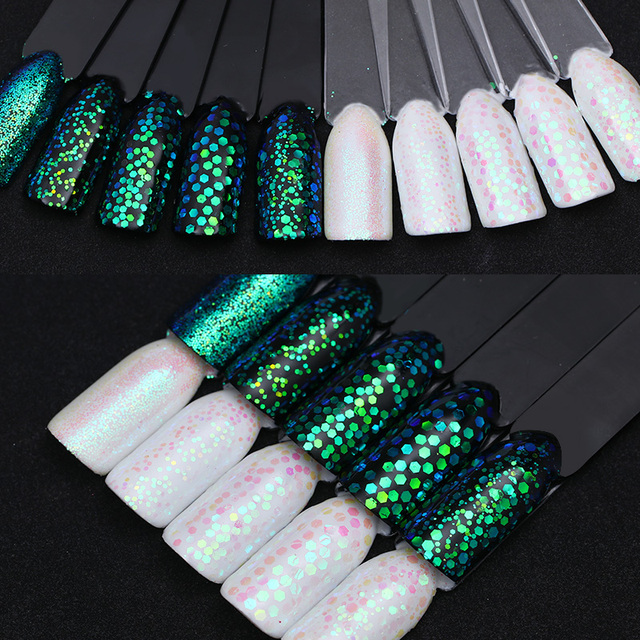 Sirena Verde de Uñas Glitter Lentejuelas Multi tamaño del Pixel ...