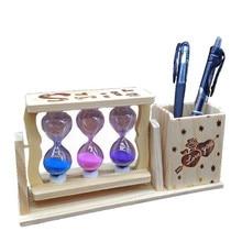 Творчество держатель ручки песочные часы, украшения Деревянный отправить для мальчиков и девочек одноклассники учитель дети мультфильм милый подарок на день рождения