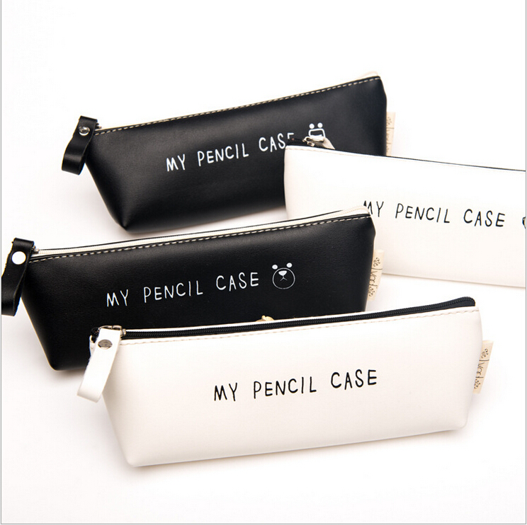 Best Deal Triangle My Pencil Case Classical Black And White Color Waterproof PU Leather Storage Cosmetic Bag