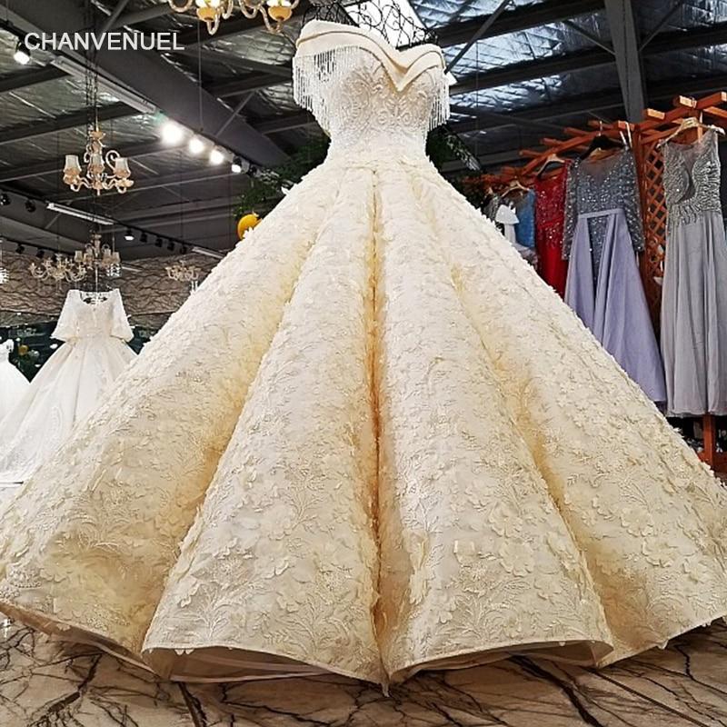 LS12580 Luxury champagne bridal dresses crystals shoulder bridal dress big puffy skirt long train wedding dress real photos 2018