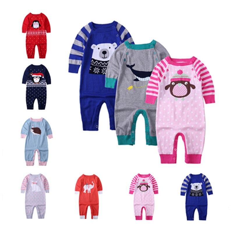 Зима, Рождество для маленьких девочек мальчиков мультфильм животных шерстяной комбинезон новорожденных Джемперы детей восхождение свитер...