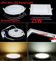 50PCS/LOT Dimmable Led Panel Light Lamp Round Or Square SMD 2835 25W White / Warm White LED Ceiling Recessed Downlight