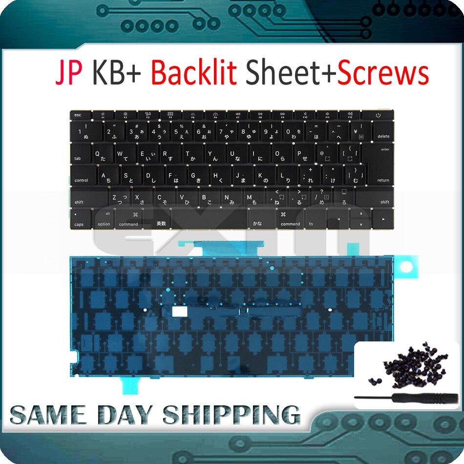 New Laptop A1534 Japanese Japan JP Keyboard w/ Backlight Backlit +Screws for Macbook 12