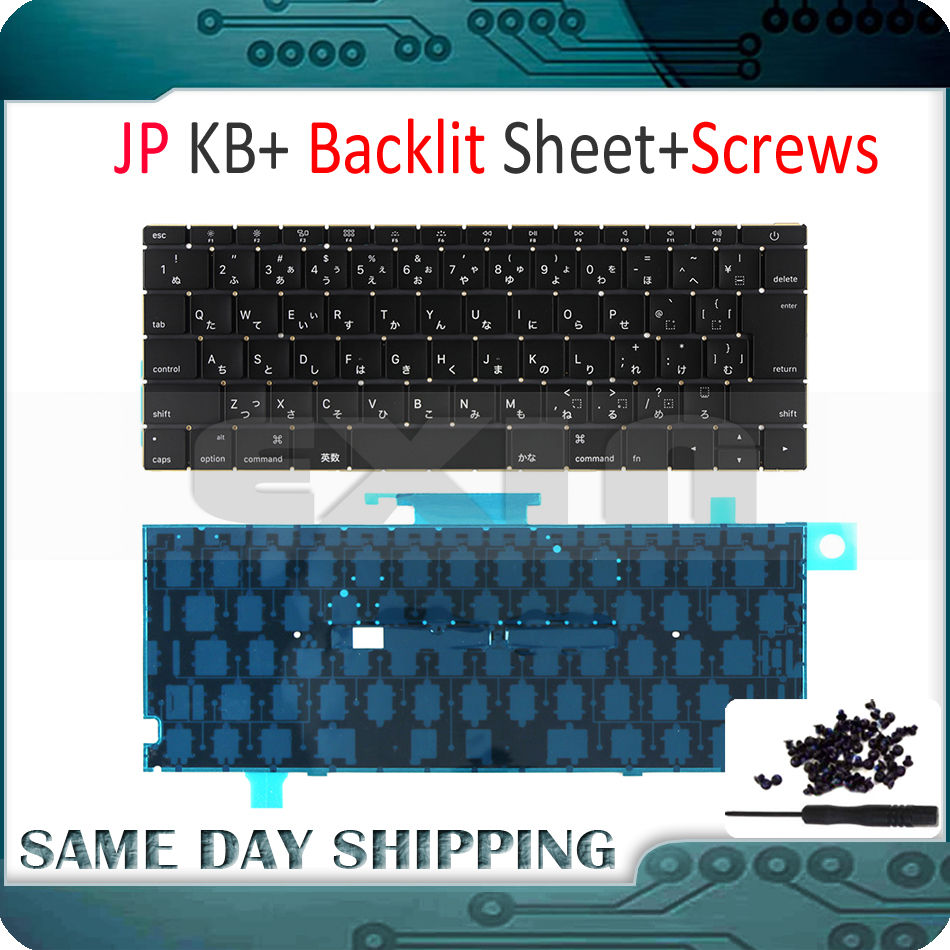New Laptop A1534 Japanese Japan JP Keyboard w/ Backlight Backlit +Screws for Macbook 12 A1534 Keyboard 2015 2016 2017 Year laptop keyboard for nec le150 t2w pc le150t2w white without frame japanese jp