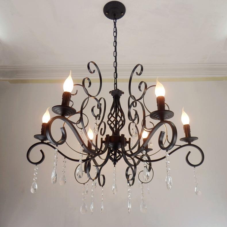 iron candle crystal lights  Multiple Chandelier American minimalist living room wrought lighting lamps bedroom ZA