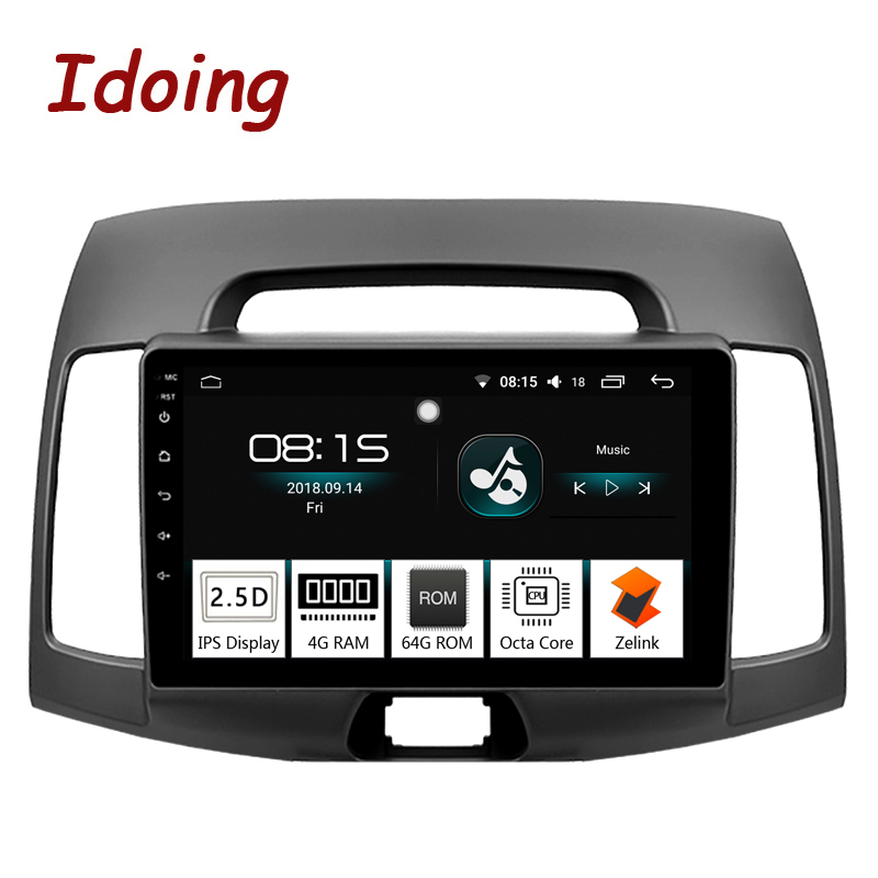 Idoing 91Din Car Android 8.0 Radio Vedio Multimedia Player For Hyundai Elantra 2010 GPS Navigation and Glonass 4G+64G Octa Core