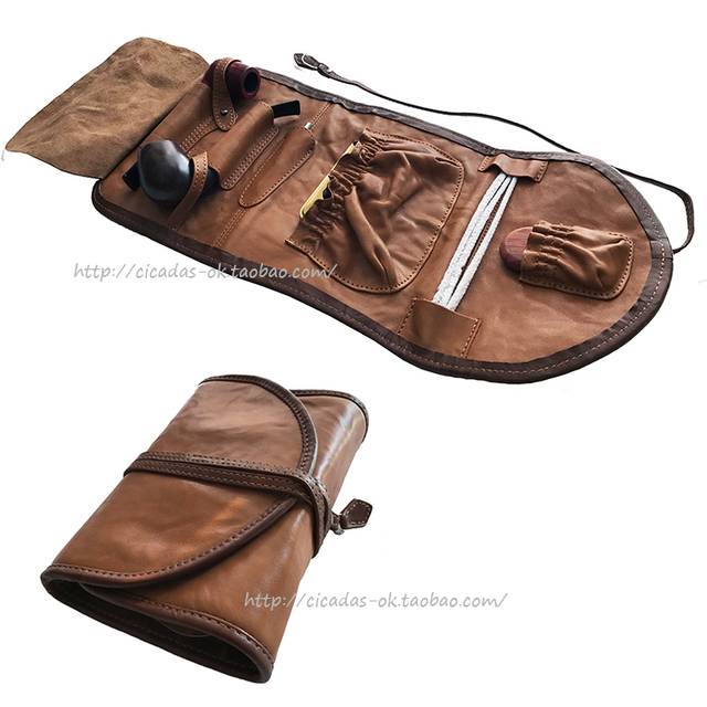 Genuine Leather Pipe Pouches Two Bag Tools Smoking Accessories Gifts Only