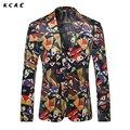 KCAE Marca Más El Tamaño 48-56 de La Moda Otoño Invierno de Los Hombres de Lujo trajes de Fiesta de La Flor de Impresión Blazer Slim Fit Traje Homme Boda vestido