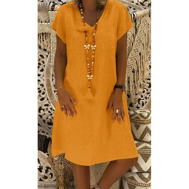 2019 Bohemian Beach Dress Women Sundress Harajuku Leisure Short Sleeve V Neck Loose Cotton Linen Midi Dress Plus Size 5XL Yellow