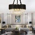 Современная хрустальная люстра  простая креативная лампа для гостиной  модная роскошная черная люстра для спальни  светодиодное освещение