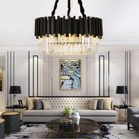 Modern kristal avize basit yaratıcı oturma odası lamba moda lüks siyah İskandinav yatak odası LED aydınlatma
