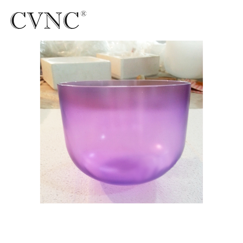 CVNC 7'' Violet Colored Clear Note B Crown Chakra Quartz Crystal Singing Bowl With Free Mallet and O Ring