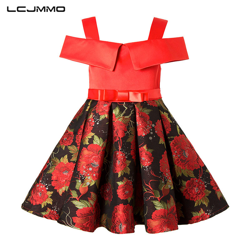 LCJMMO Spring Floral Kids Dresses For Girls Party Wear Summer Fashion Bow Strapless Print Princess Dresses Girl Children Clothes lcjmmo new girls party dresses summer 2017 brand kids bow plaid dress princess costumes for girl children clothes 2 7 years
