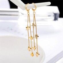 ECODAY Fashion Star Tassel Earrings Pendientes Largos long Earrings Gold Color Drop Earrings for Women Brincos gold color with green gray pink tassel drop earrings