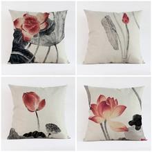 Vintage alta ropa de calidad estilo chino pintura flor de loto funda decorativa para cojines funda de cojín coche sofá decoración del hogar