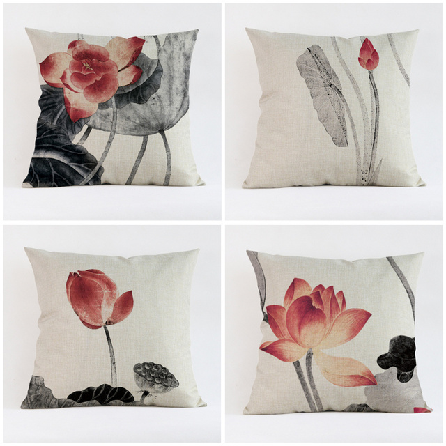 Vintage High Quality Linen Chinese Style Painting Lotus Flower Decorative  Throw Pillows Case Cushion Cover Car