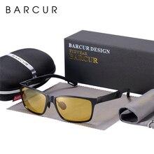 BARCUR Motorista Anti Glare Condução Óculos de Visão Noturna Óculos De Sol Dos Homens de Alumínio Noite Quadrado Óculos De Sol Óculos de Proteção Eyewear