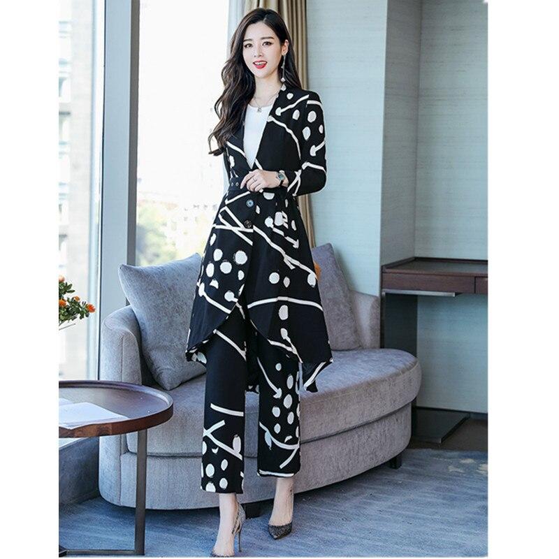 Reparação moda impressão terno das mulheres terno das mulheres two piece suit (casaco + calça) calças ternos para mulheres - 3