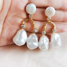 Vintage Luxury Gold Color Freshwater Pearls Dangle Earrings Women Wedding  Party Gifts Baroque Chandelier Long Statement Earrings bee51f6aa702