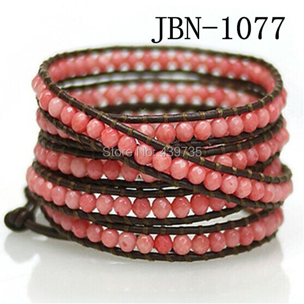 new arrival men fashion jewelry 4mm pink stone weaving leather bead bracelet bangle 5 layer for women JBN-1077