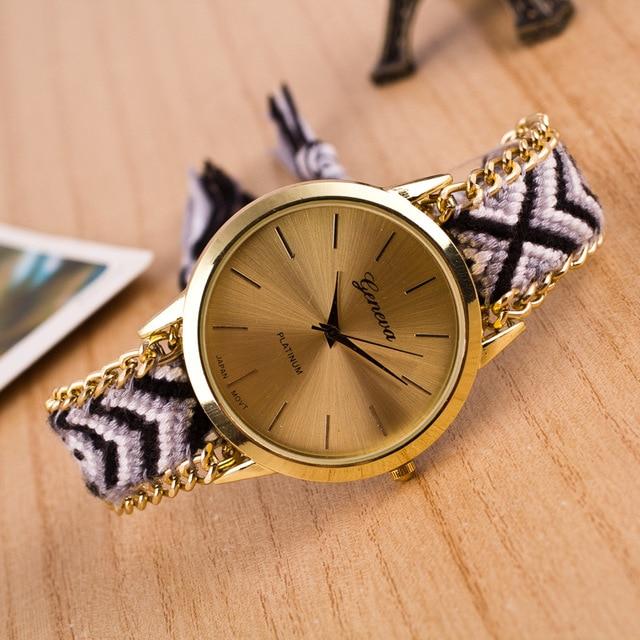 Fashion Braided Friendship Bracelet Geneva Watches Hand Made Women Quartz Watche
