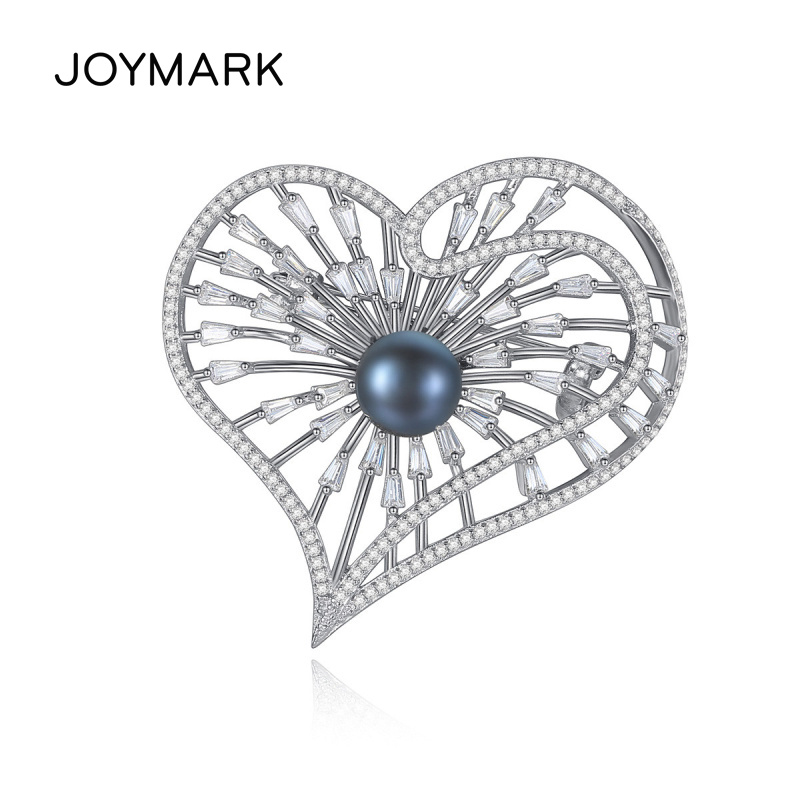 S925 Sterling Silver Fine Jewelry Heart Shape Zircon Pave Black Pearl Brooches For Elegant Women Anniversary Gift JPPB206S925 Sterling Silver Fine Jewelry Heart Shape Zircon Pave Black Pearl Brooches For Elegant Women Anniversary Gift JPPB206