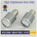 2 ШТ. P21/5 Вт 1157 LED BAY15D CREE СВЕТОДИОДНЫХ Чипов 5 Вт DC 12-24 В Светодиодные Стоп-сигналы Лампа Лампа Клин Автомобилей Свет