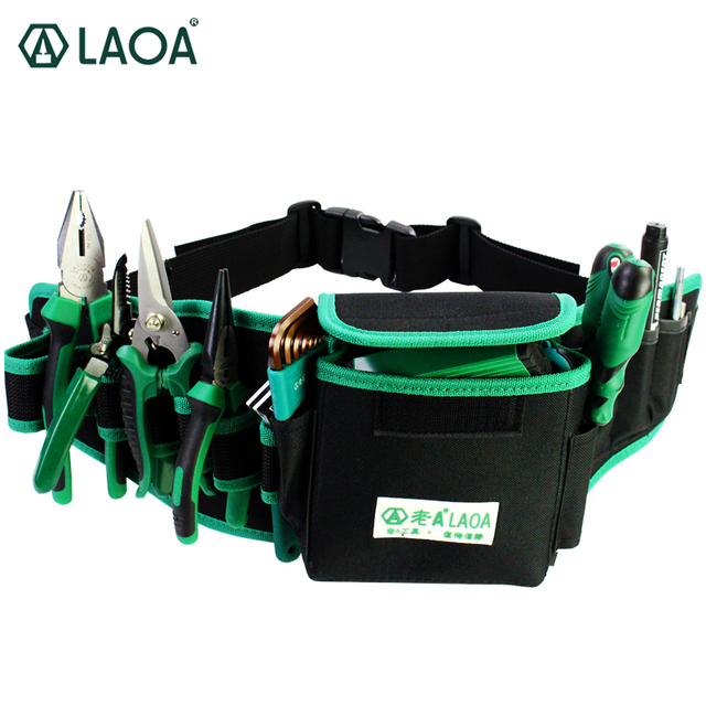 Laoa Waterproof Electrician Bag Double Layers Tool Bags Storage Tools Kit Waist Pocket For Professional Electricians