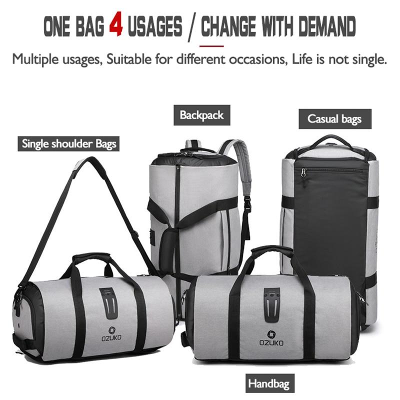 OZUKO sac à dos de voyage pour hommes costume stockage grande capacité voyage sac à main multifonction étanche voyage Mochila avec poche à chaussures - 3