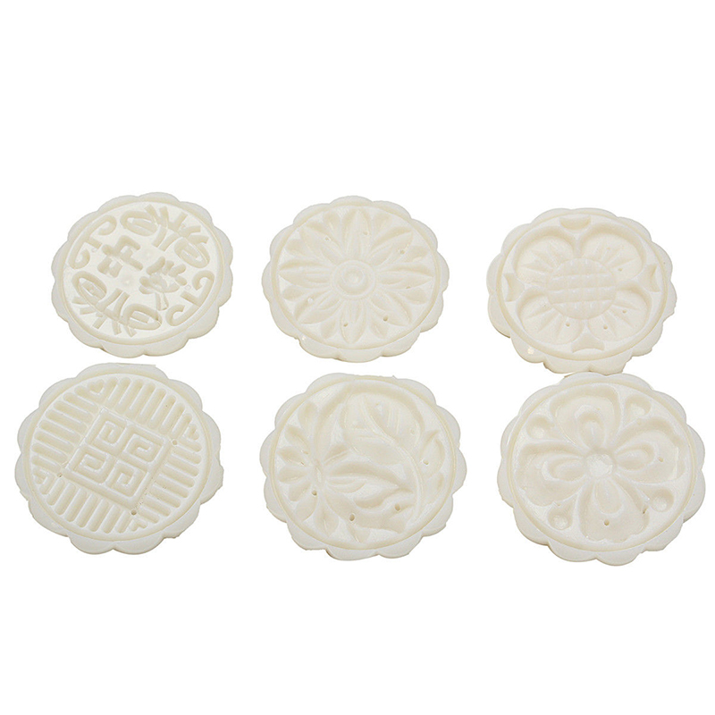 JX-LCLYL New 50g Round Flower Mooncake Mould 6 Stamps Moon Cake Decor Baking Tool