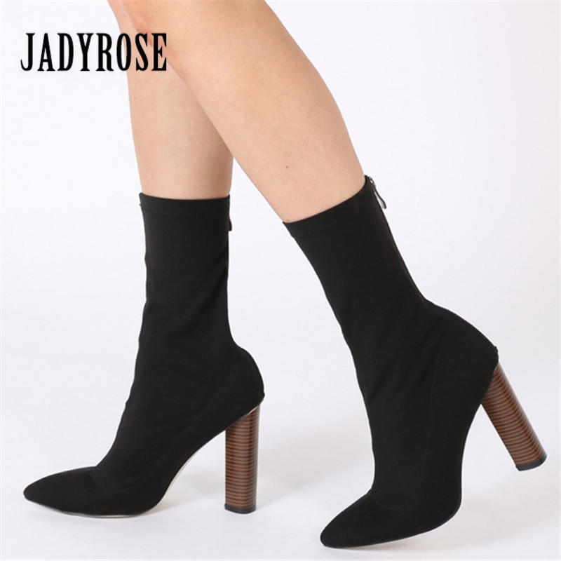 Jady Rose Fashion Stretch Fabric Ankle Boots for Women Chunky High Heel Sock Boot Elastic Pointed Toe Female Back Zip High Boots
