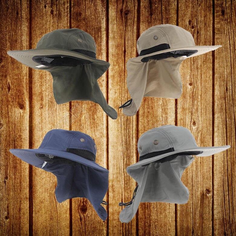 d053b997 Fashion Outdoor Sun Hat Neck Flap Boonie Hat Fishing Hiking Safari Sun Brim  Bucket Bush Cap Blue-in Sun Hats from Apparel Accessories on Aliexpress.com  ...